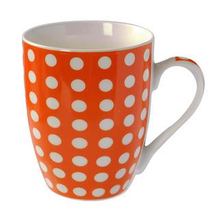 Keramický hrnček Baňák 400 ml oranžový s bodkami, BANQUET