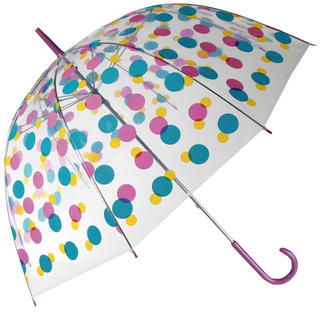 Dámsky dáždnik priehľadný s farebnými bodkami