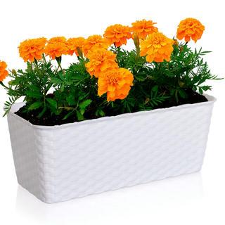 Samozavlažovací kvetinač obdĺžnikový biely