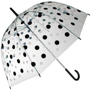 Dámsky dáždnik priehľadný s bodkami