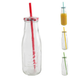 Sklenená fľaša STRAW s viečkom a slamkou