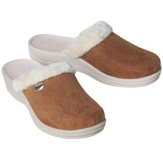 Dámske domáce papuče s kožušinkou hnedé