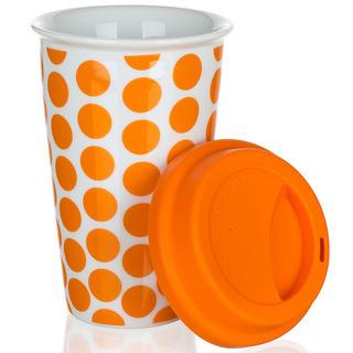 Dvojstenný hrnček so silikónovým viečkom COLOR PLUS oranžový, BANQUET
