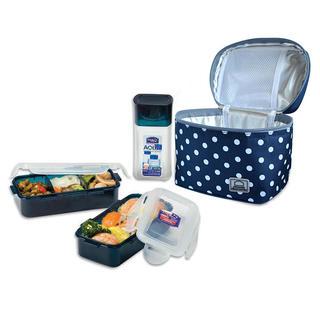 Bodkovaná taška Lunch Boxes modrá