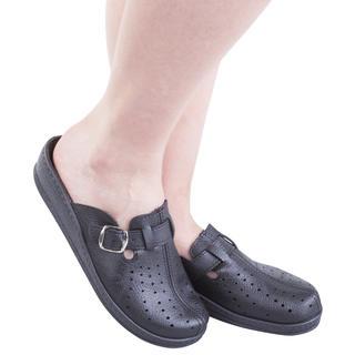 Dámske papuče s plnou špičkou a prackou čierne