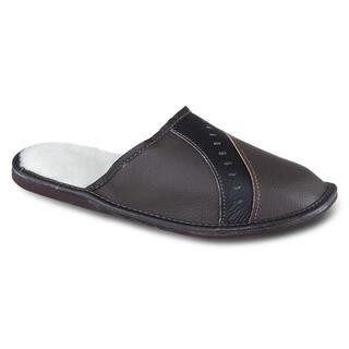 Pánska domáca obuv kožená tmavo hnedá