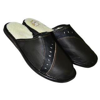 Pánska domáca obuv kožená čierna