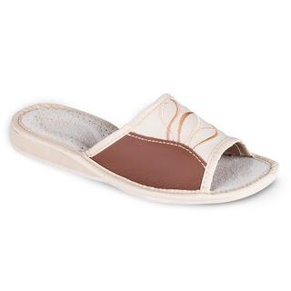Kožené dámske papuče so vzorom