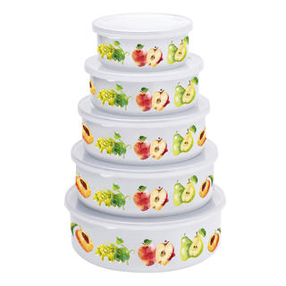 Smaltované misky s viečkami Jablká a hrušky 5 ks