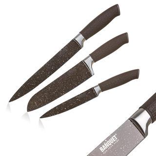 Nože s nepriľnavým povrchom PREMIUM Dark Brown 3 ks, BANQUET