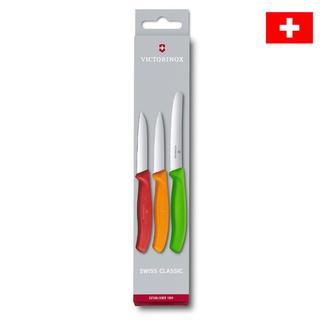 Nerezové kuchynské nože VICTORINOX SWISS CLASSIC s farebnými rukoväťami 3 ks