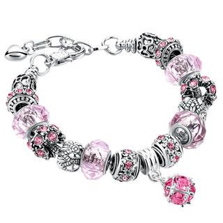 Dámsky náramok s korálkami ružový