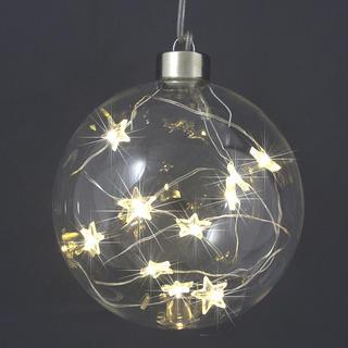 Vianočná svetelná guľa s 10 LED hviezdičkami