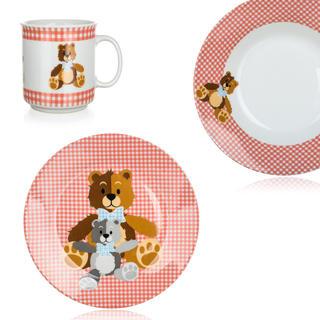 Detská jedálenská súprava Medvedíky 3 ks červená, BANQUET