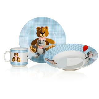 Detská jedálenská súprava Medvedíky 3 ks modrá, BANQUET