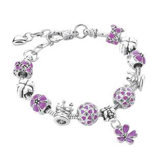 Náramok s kvetinkami, fialový