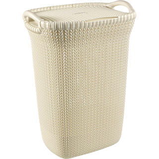 Kôš na špinavú bielizeň pletený KNIT Curver 57 l krémový