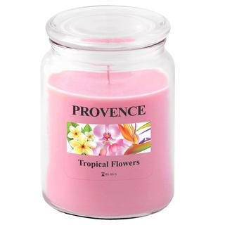 Sviečka v skle s viečkom, tropické kvety