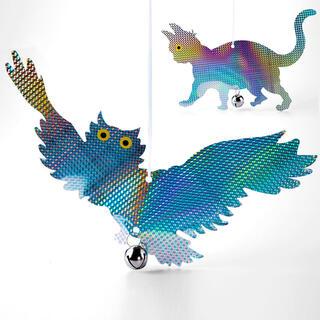Závesný plašič vtákov reflexná mačka a sova, sada 2 kusov
