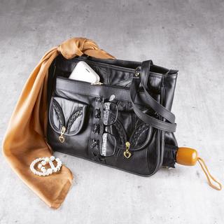 Dámska kožená kabelka s vreckom na dáždnik