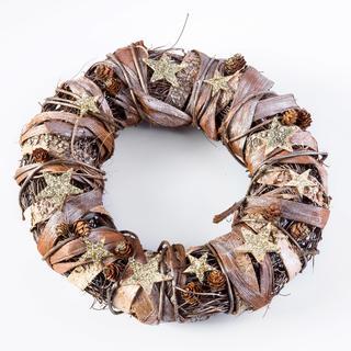 Vianočný veniec s brezovou kôrou zlato - hnedý 32 cm