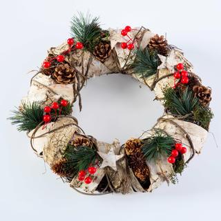 Vianočný veniec s brezovou kôrou prírodný 32 cm