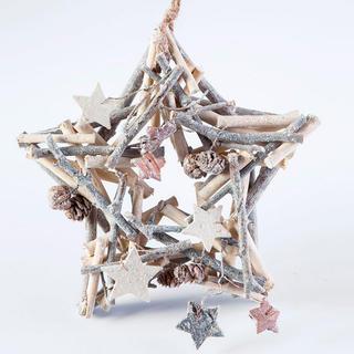 Vianočná drevená dekorácia hviezda 24 cm