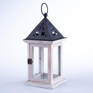 Drevený lampáš s plechovou strieškou 33 cm