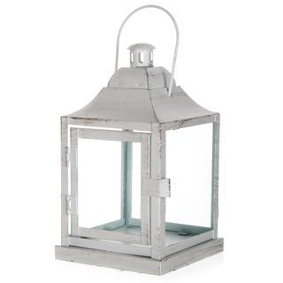 Plechový lampáš na čajovú sviečku matná biela 20 cm