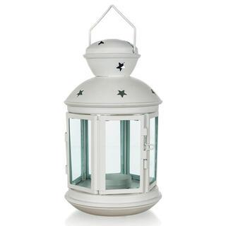 Plechový guľatý lampáš na čajovú sviečku biely 20,5 cm