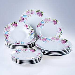 Banquet Porcelánová sada tanierov PINK FLOWERS 18 ks