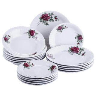 Porcelánová sada tanierov s ružami IVONA 18 ks
