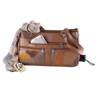 Dámska kabelka s vreckom na dáždnik hnedý patchwork