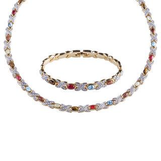 Súprava magnetického náhrdelníku a náramku s polodrahokamami