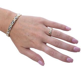 Súprava zdobeného magnetického náramku s prstienkom