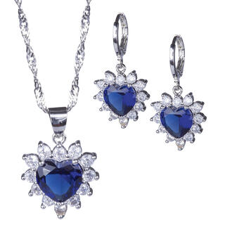Súprava náhrdelníku a náušníc SRDCE modré