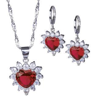 Súprava náhrdelníka a náušníc SRDCE červené