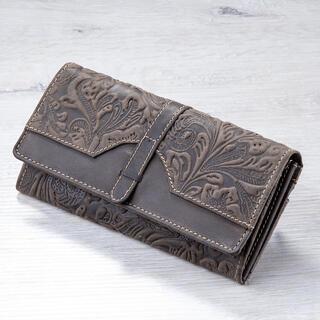 Kožená dámska peňaženka s reliéfom hnedá