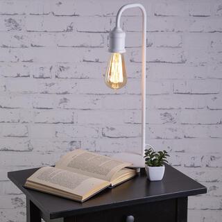 Stolná lampa VINTAGE kovová, biela