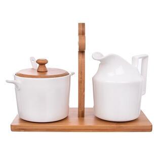 Sada mliečenky s cukorničkou na stojane BAMBUS