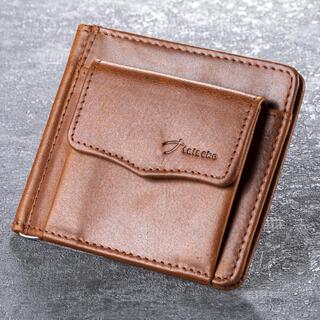 Pánska kožená peňaženka s vreckom svetlohnedá - dolárovka