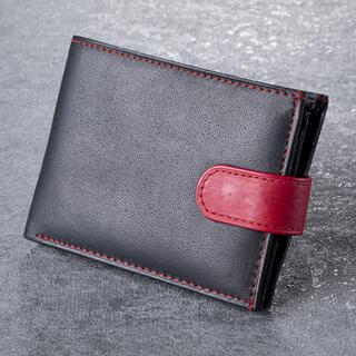 Pánska kožená peňaženka s červeným klipom