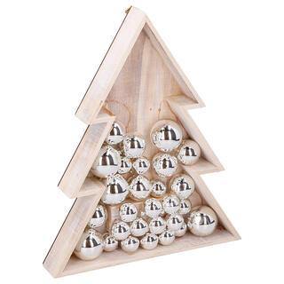 Drevená vianočná dekorácia STROMČEK, 15 LED
