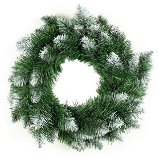 Umelý vianočný veniec, biele špičky, pr. 50 cm