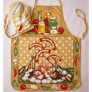 Kuchynská zástera s chňapkou - špekáčiky