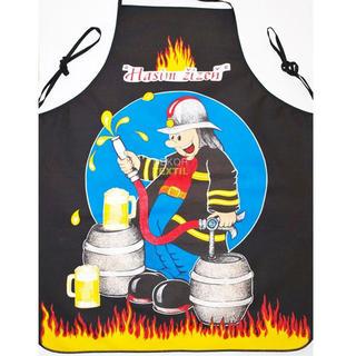 Kuchynská zástera - hasič čierna
