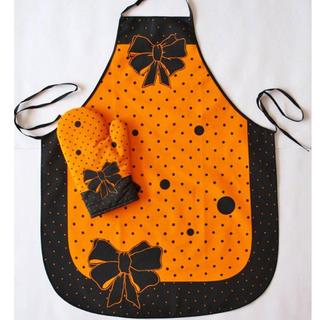 Kuchynská zástera s chňapkou oranžová
