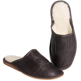 Pánske kožené papuče s ovčou vlnou hnedé