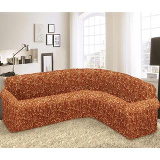 Bielastické poťahy INCA tehlové rohová sedačka (š. 350 - 530 cm)