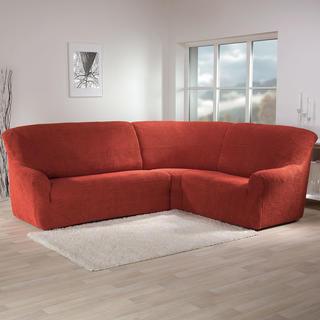 Super strečové poťahy GLAMOUR tehlová, rohová sedačka (š. 350 - 530 cm)